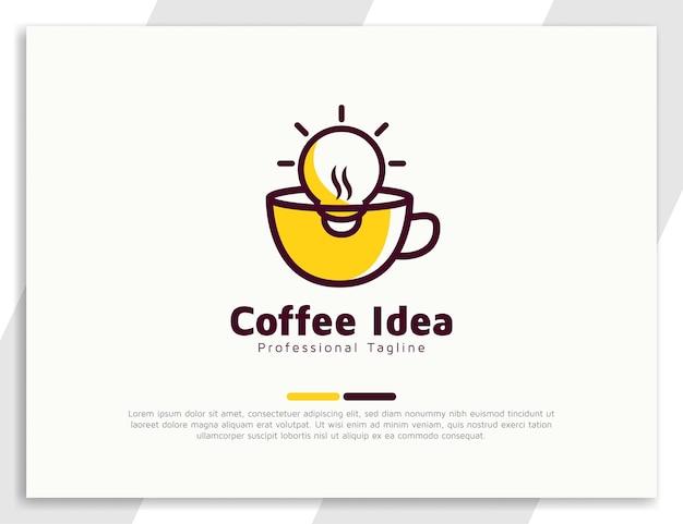 Concept de logo idée café avec illustration de l'ampoule