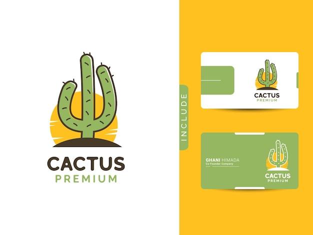 Concept de logo illustration de cactus