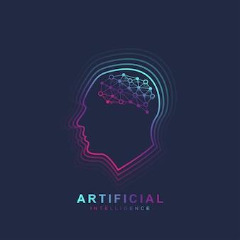 Concept de logo d'intelligence artificielle et d'apprentissage automatique. contour de la tête humaine avec l'icône du cerveau. symbole de vecteur ai. modèle de logotype de cerveau.