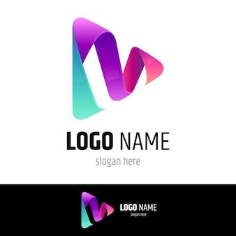 Concept de logo de jeu multimédia