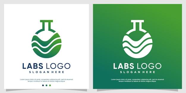 Concept de logo de laboratoires verts avec un style moderne vecteur premium