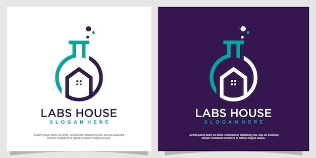 Concept de logo labs avec style maison vecteur premium