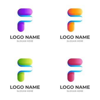 Concept de logo lettre f avec style coloré 3d