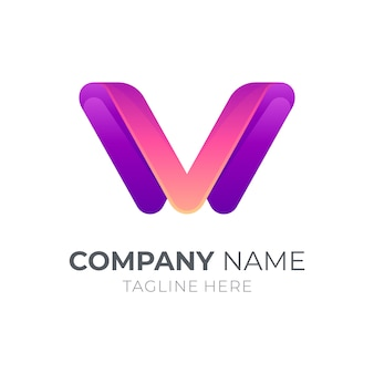 Concept de logo lettre v ou lettre w
