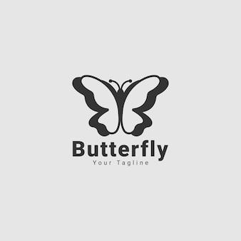 Concept de logo ligne papillon minimaliste