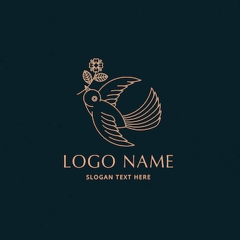 Concept de logo de ligne simple oiseau mouche