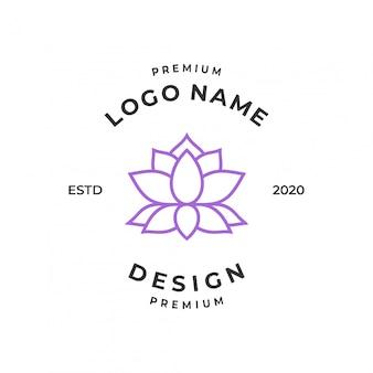 Concept de logo de lotus avec style d'art en ligne.