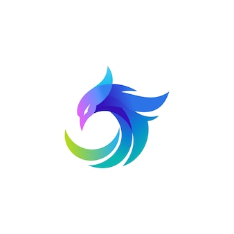 Concept de logo de luxe phoenix
