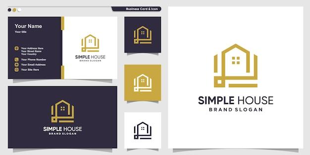 Concept de logo de maison simple avec un style d'art de ligne créative vecteur premium