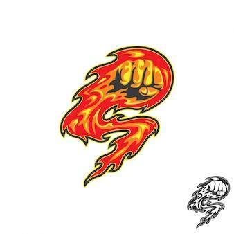 Concept de logo de météore fire punch.