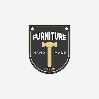 Concept de logo de meubles chaise rétro