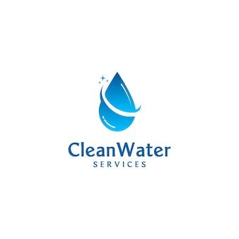 Concept de logo moderne et minimaliste pour les services de nettoyage et les soins de santé des plombiers de la compagnie des eaux
