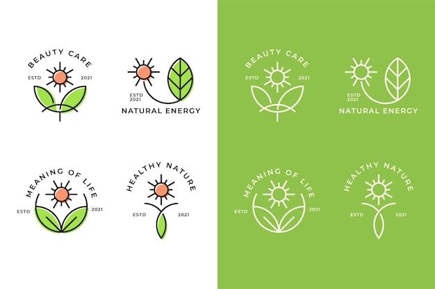 Concept de logo naturel feuille et soleil
