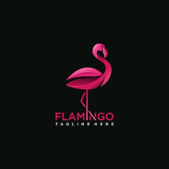 Concept de logo oiseau flamant rose