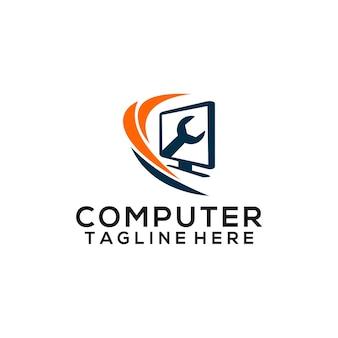 Concept de logo d'ordinateur isolé en fond blanc vecteur de logo de technologie