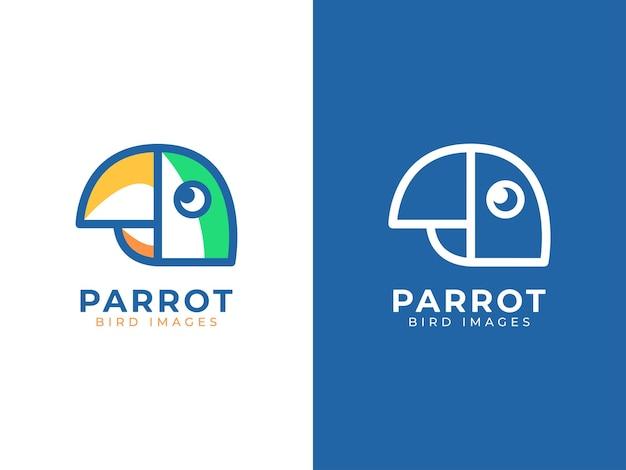 Concept de logo perroquet oiseau mono ligne