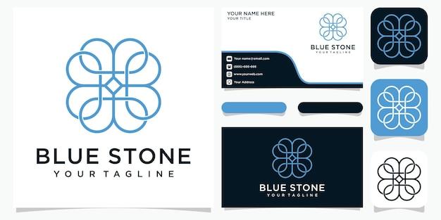 Concept de logo de pierre bleue avec style d'art en ligne et carte de visite