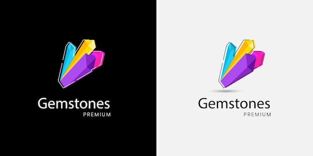 Concept de logo de pierre précieuse colorée minimale moderne