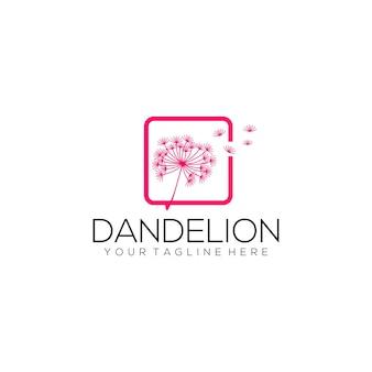 Concept de logo pissenlit isolé en fond blanc vecteur de modèle de logo fleur