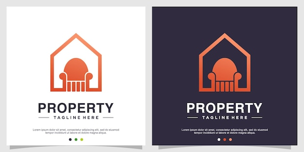 Concept de logo de propriété avec un style moderne vecteur premium partie 2