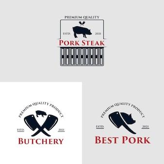 Concept de logo de restaurant barbecue avec un porc vecteur premium