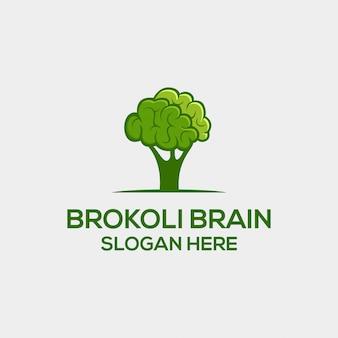 Concept de logo à sens double broccoli et brain