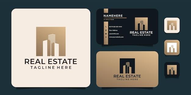 Concept de logo de silhouette de luxe immobilier