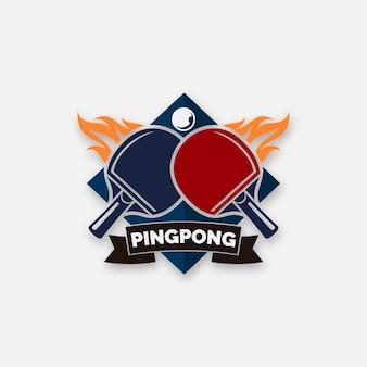 Concept de logo de tennis de table détaillé
