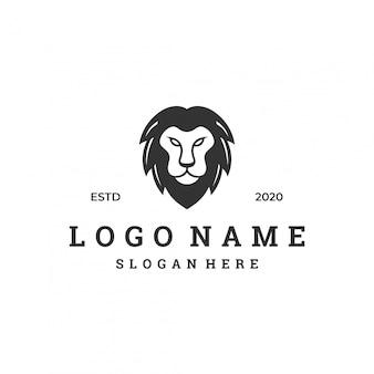 Concept de logo tête de lion, modèle de design plat moderne.