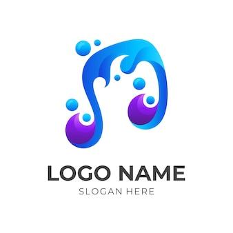 Concept de logo de vague de musique, musique et vague, logo de combinaison avec le style de couleur bleu et violet 3d