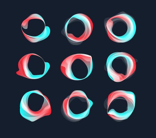 Concept de logo vectoriel liquide abstrait rond ondulé défini cadre d'affiche de titre qui coule cercle futuriste