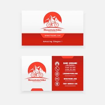 Concept de logo vectoriel, tourisme de carte de visite et cyclisme