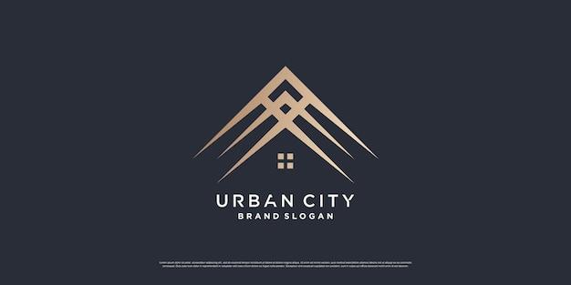 Concept de logo de la ville urbaine avec le loking de luxe vecteur premium