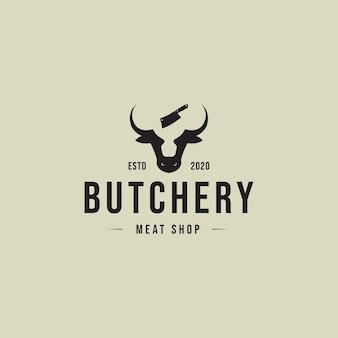 Concept de logo vintage de boucherie