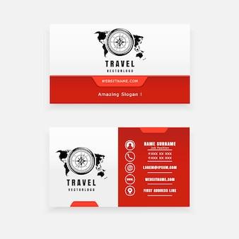 Concept de logo de voyage, boussole et carte du monde