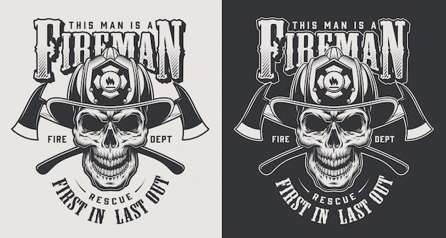Concept de logotype de lutte contre l'incendie vintage