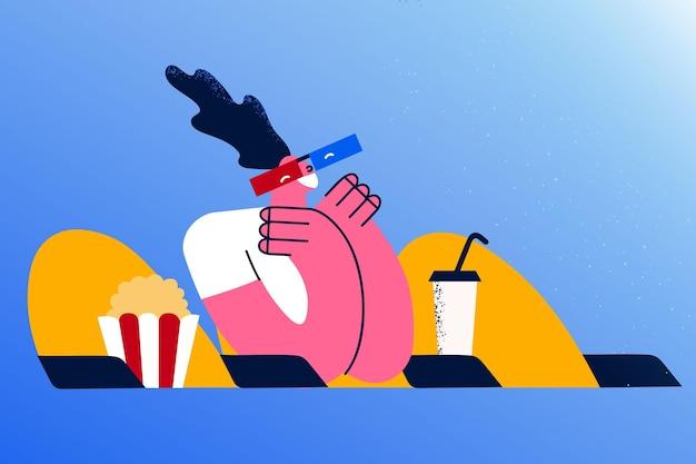 Concept de loisirs, de divertissement et de cinéma. jeune femme dans des verres assise avec une boisson et du pop-corn et regardant le cinéma dans une salle de cinéma seule illustration vectorielle