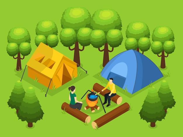 Concept de loisirs de randonnée coloré
