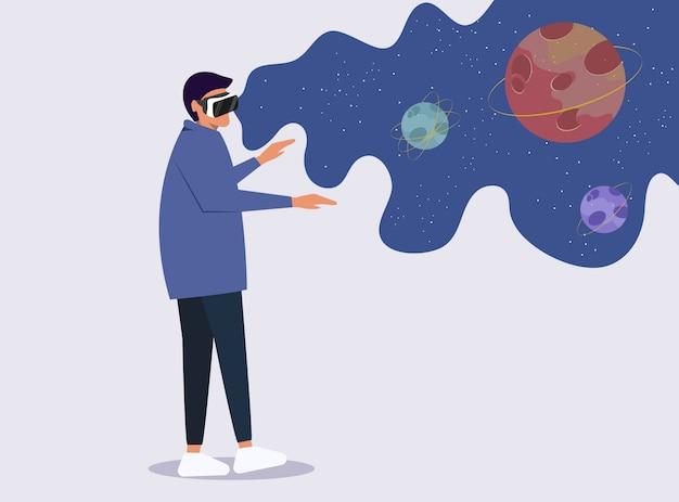 Concept de lunettes de réalité augmentée virtuelle avec homme