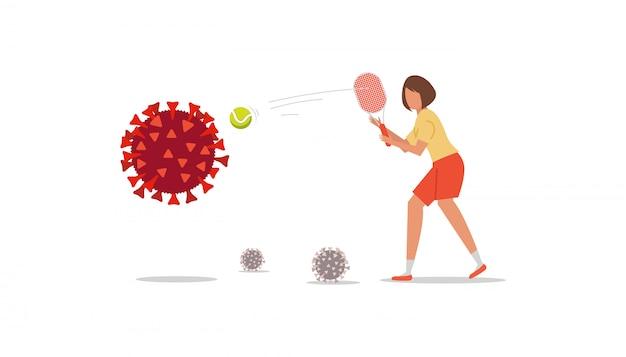 Concept de lutte contre le coronavirus. fille de dessin animé avec une raquette frappe la balle de tennis pour détruire le virus covid 19