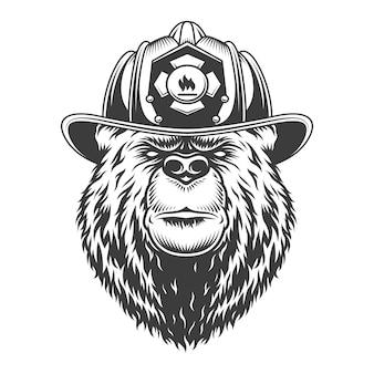 Concept de lutte contre l'incendie monochrome vintage