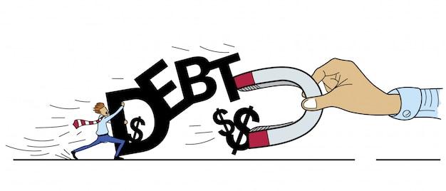 Concept de lutte pour l'argent de la dette