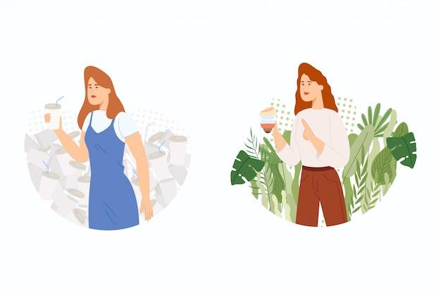 Le concept de la lutte pour l'environnement. rejet de vaisselle jetable. la fille avec des lunettes jetables et réutilisables.