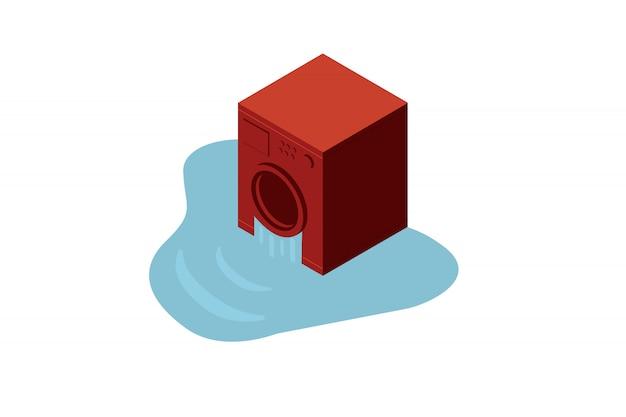 Concept de machine à laver ou sèche-linge rouge cassé isométrique dans une eau.