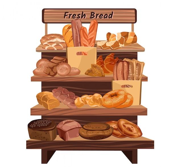 Concept de magasin de boulangerie dessiné main coloré