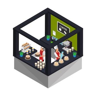 Concept de magasin de confiserie isométrique avec des travailleurs qui cuisinent