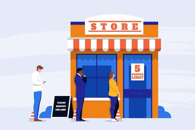 Concept de magasin avec un nombre limité de personnes