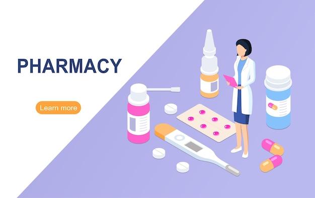 Concept de magasin de pharmacie. illustration vectorielle.