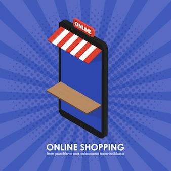 Le concept de magasin de téléphone isométrique faisant des achats en ligne. modèle pour les magasins, les biens et les services. illustration vectorielle de style bande dessinée rétro vintage
