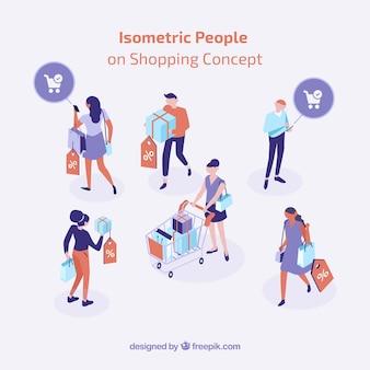 Concept de magasinage isométrique avec des personnes